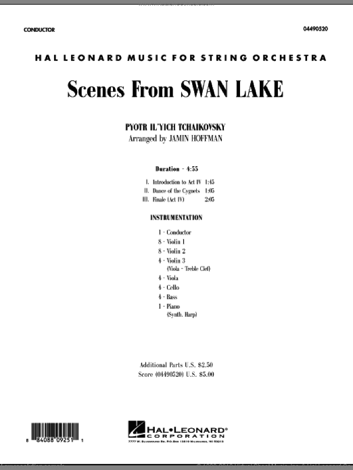 Scenes from Swan Lake (COMPLETE) sheet music for orchestra by Pyotr Ilyich Tchaikovsky and Jamin Hoffman, classical score, intermediate skill level