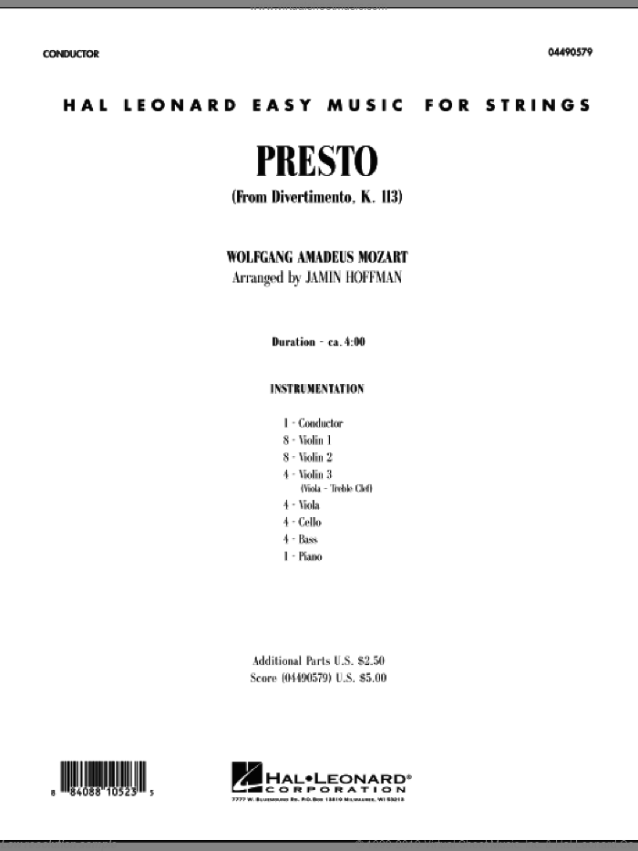 Presto (from Divertimento, K.113) (COMPLETE) sheet music for orchestra by Wolfgang Amadeus Mozart and Jamin Hoffman, classical score, intermediate skill level