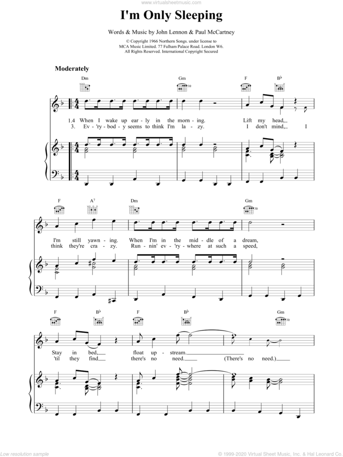 I'm Only Sleeping sheet music for voice, piano or guitar by Paul McCartney, The Beatles and LENNON, intermediate skill level