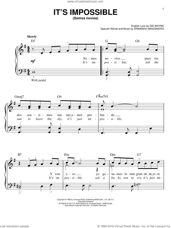 It's Impossible (Somos Novios) sheet music for piano solo by Perry Como, Elvis Presley, Armando Manzanero and Sid Wayne, easy skill level
