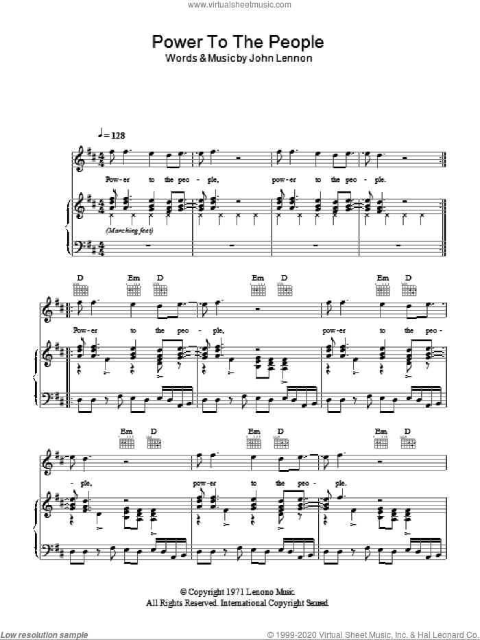 Power To The People sheet music for voice, piano or guitar by John Lennon, intermediate skill level