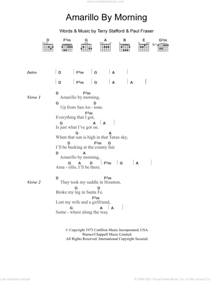 Amarillo By Morning sheet music for guitar (chords) by George Strait, Paul Fraser and Terry Stafford, intermediate skill level
