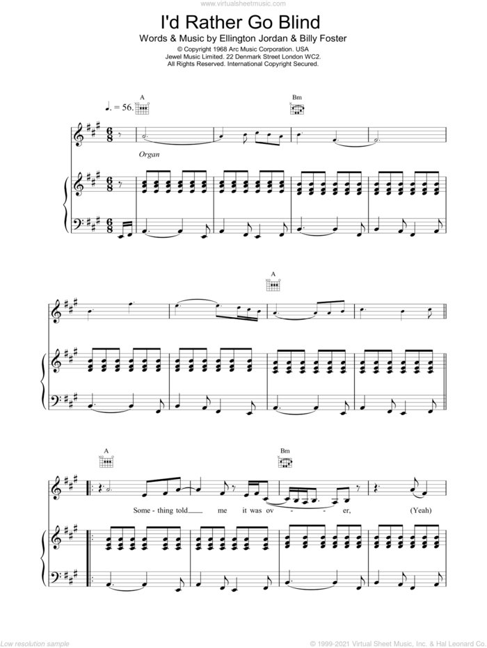 I'd Rather Go Blind sheet music for voice, piano or guitar by Etta James, BILLY FOSTER and Ellington Jordan, intermediate skill level