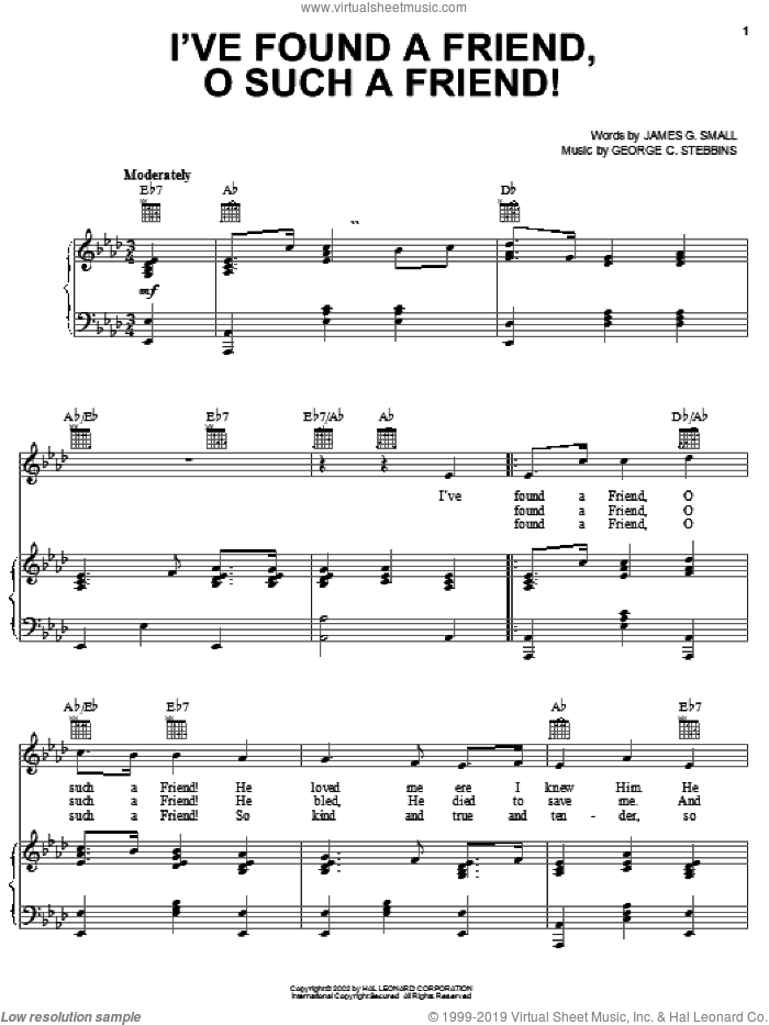 I've Found A Friend, O Such A Friend! sheet music for voice, piano or guitar by George C. Stebbins and James G. Small, intermediate skill level