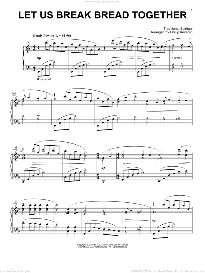 Let Us Break Bread Together, (intermediate) sheet music for piano solo  and Phillip Keveren, intermediate skill level