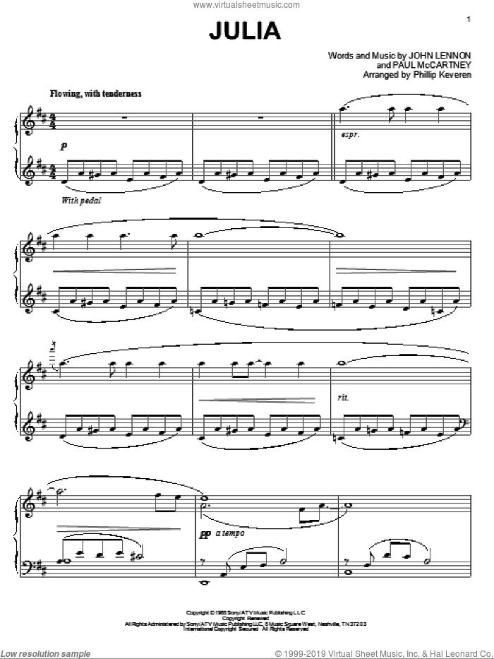 Julia sheet music for piano solo by The Beatles, Phillip Keveren, John Lennon and Paul McCartney, intermediate skill level