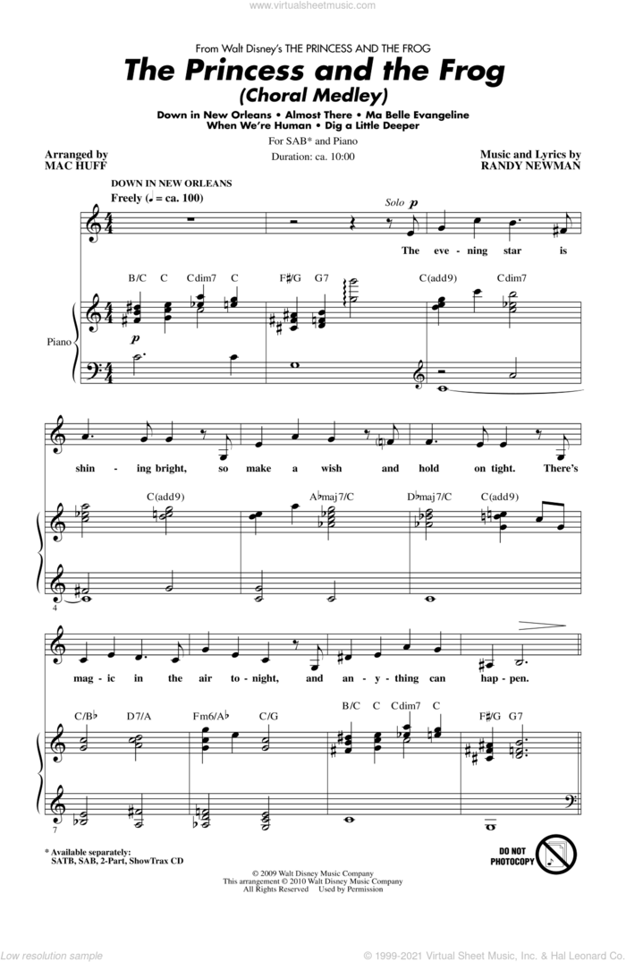 The Princess And The Frog (Choral Medley) sheet music for choir (SAB: soprano, alto, bass) by Randy Newman and Mac Huff, intermediate skill level