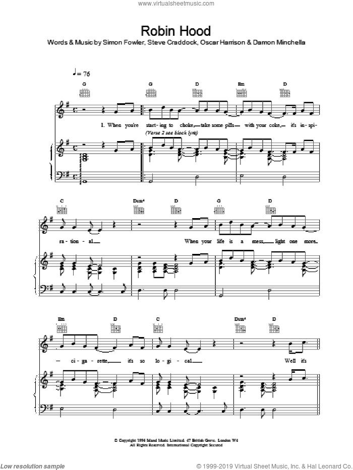 Robin Hood sheet music for voice, piano or guitar by Ocean Colour Scene, Oscar Harrison, Simon Fowler and Steve Cradock, intermediate skill level