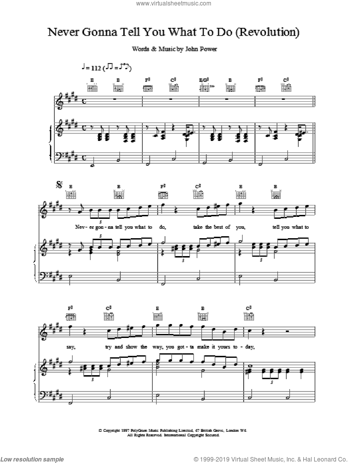 Never Gonna Tell You What To Do (Revolution) sheet music for voice, piano or guitar by John Power, intermediate skill level
