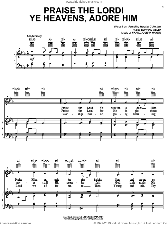Praise The Lord! Ye Heavens, Adore Him sheet music for voice, piano or guitar by Edward Osler, Franz Joseph Haydn and Miscellaneous, intermediate skill level