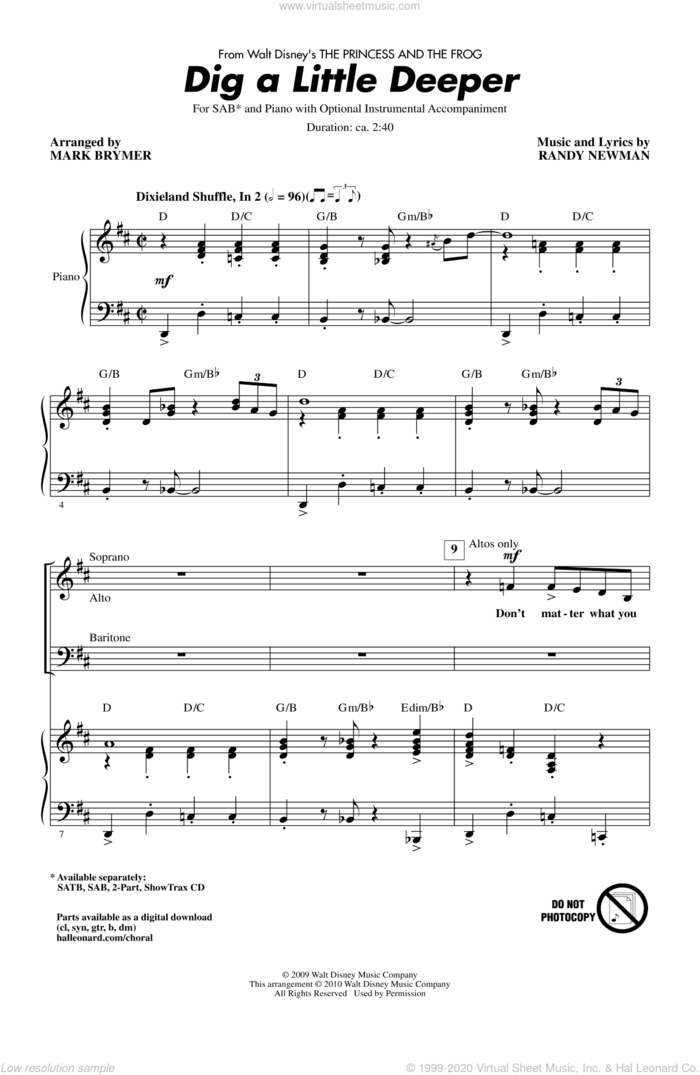Dig A Little Deeper (from The Princess And The Frog) sheet music for choir (SAB: soprano, alto, bass) by Randy Newman and Mark Brymer, intermediate skill level