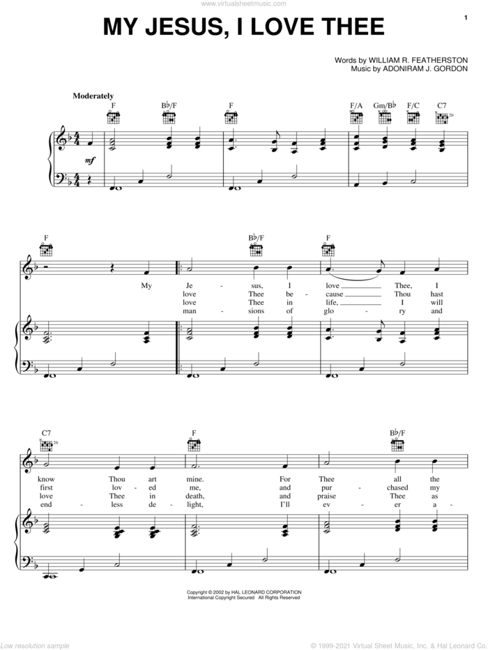 My Jesus, I Love Thee sheet music for voice, piano or guitar by William R. Featherstone and Adoniram J. Gordon, intermediate skill level