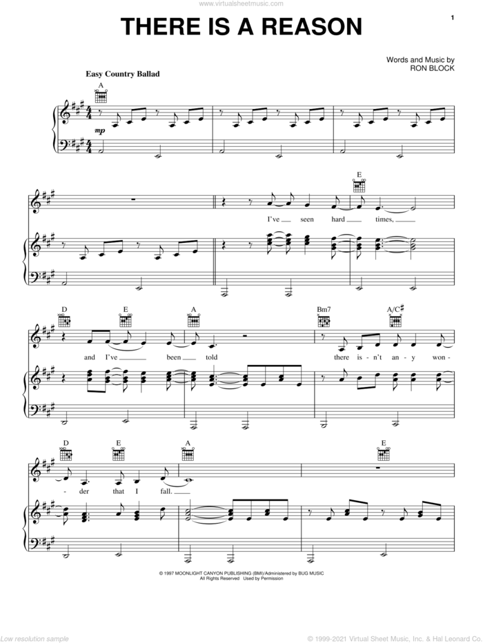 There Is A Reason sheet music for voice, piano or guitar by Alison Krauss and Ron Block, intermediate skill level