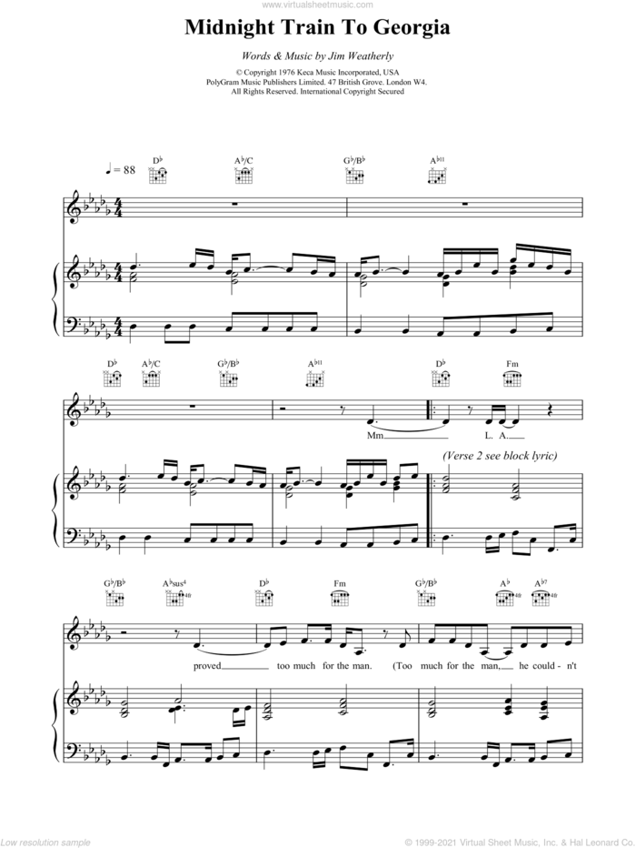 Midnight Train to Georgia sheet music for voice, piano or guitar by Gladys Knight and Jim Weatherly, intermediate skill level