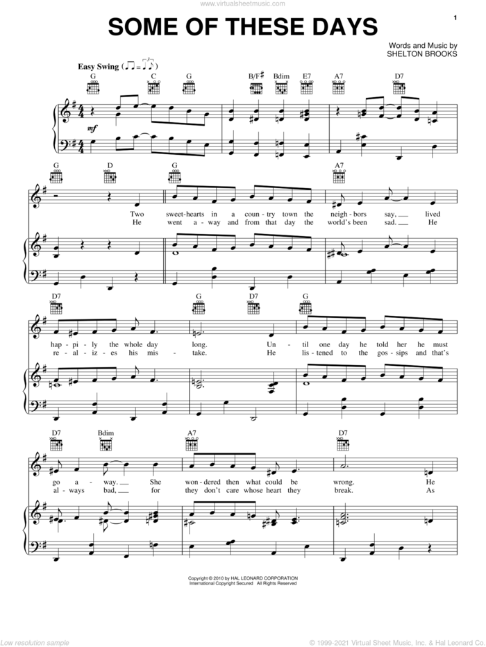 Some Of These Days sheet music for voice, piano or guitar by Sophie Tucker and Shelton Brooks, intermediate skill level