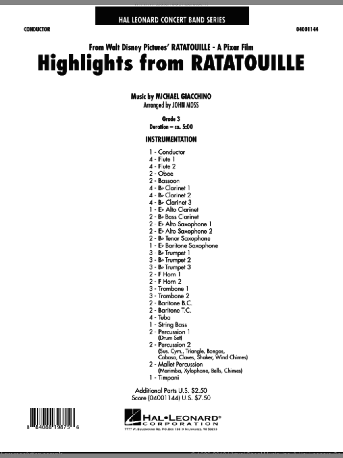 Highlights from Ratatouille (COMPLETE) sheet music for concert band by Michael Giacchino and John Moss, intermediate skill level