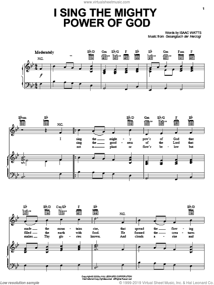 I Sing The Mighty Power Of God sheet music for voice, piano or guitar by Isaac Watts and Gesangbuch der Herzogl, intermediate skill level