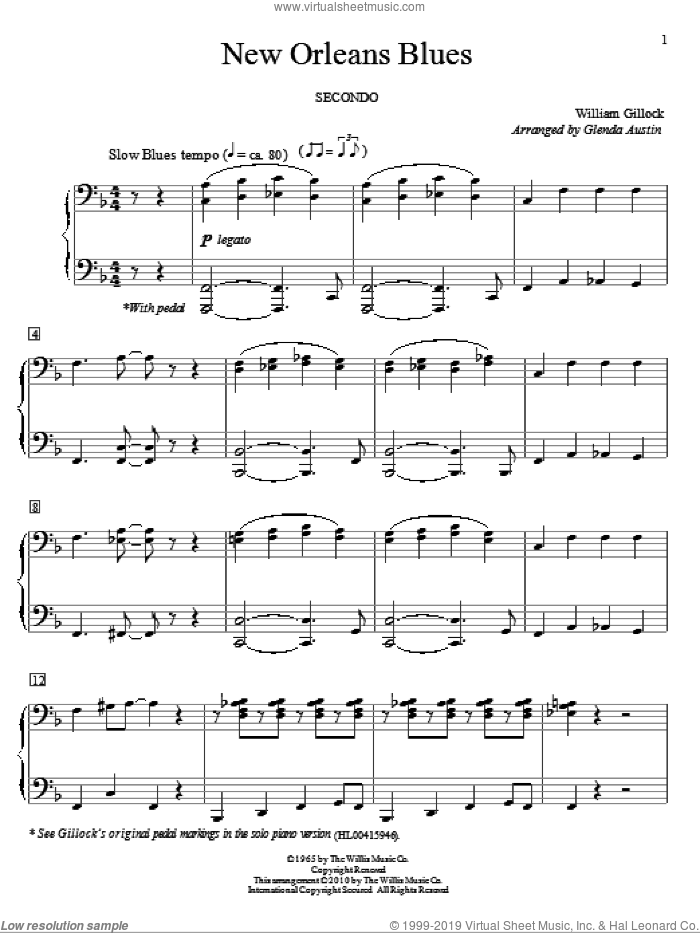 New Orleans Blues sheet music for piano four hands by William Gillock and Glenda Austin, intermediate skill level
