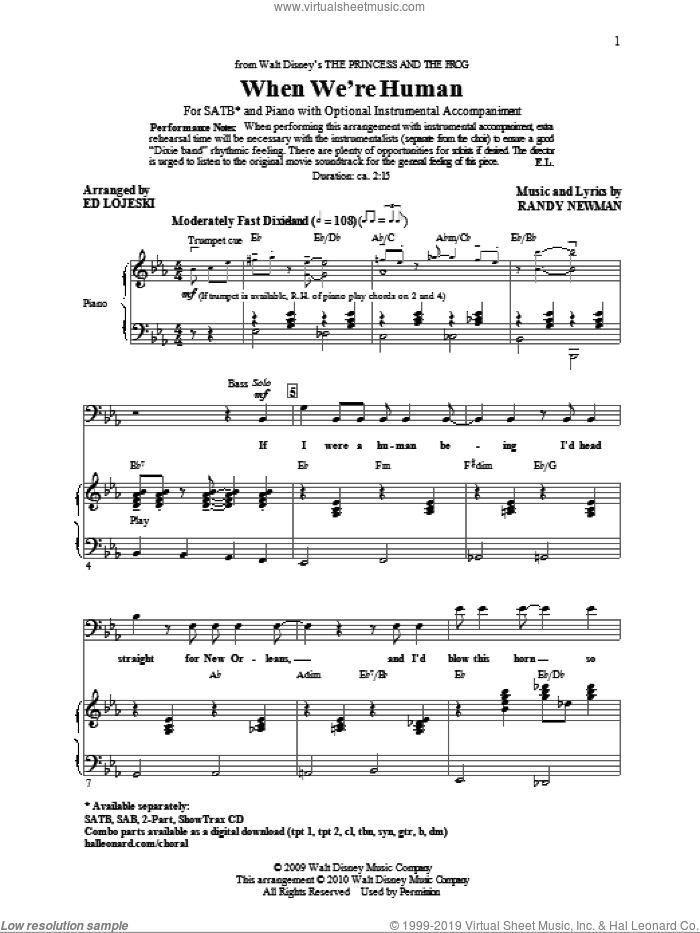 When We're Human (from The Princess And The Frog) sheet music for choir (SATB: soprano, alto, tenor, bass) by Randy Newman and Ed Lojeski, intermediate skill level