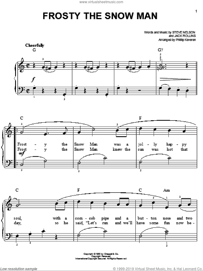 Frosty The Snow Man, (easy) sheet music for piano solo by Gene Autry, Phillip Keveren, Jack Rollins and Steve Nelson, easy skill level