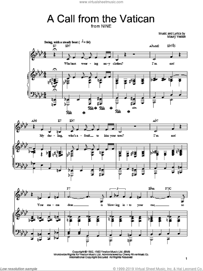 A Call From The Vatican sheet music for voice, piano or guitar by Maury Yeston and Nine (Musical), intermediate skill level