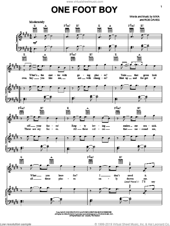 One Foot Boy sheet music for voice, piano or guitar by Mika and Rob Davies, intermediate skill level