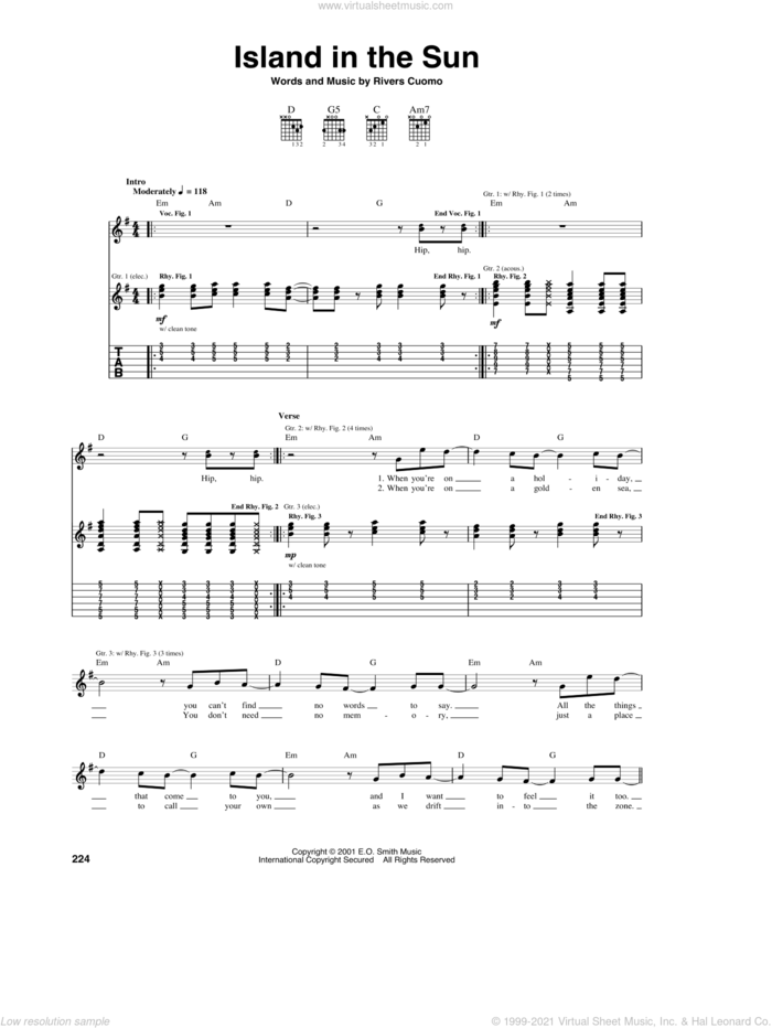 Island In The Sun sheet music for guitar (tablature) by Weezer and Rivers Cuomo, intermediate skill level