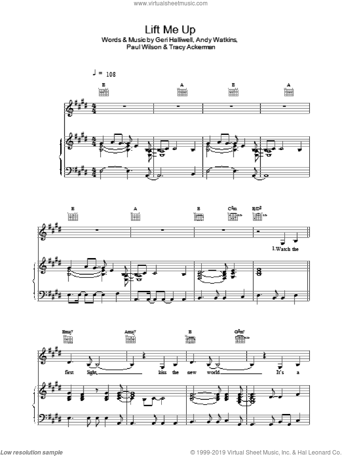 Lift Me Up sheet music for voice, piano or guitar by Geri Halliwell, Ackerman, Andy Watkins and HALLIWELL, intermediate skill level