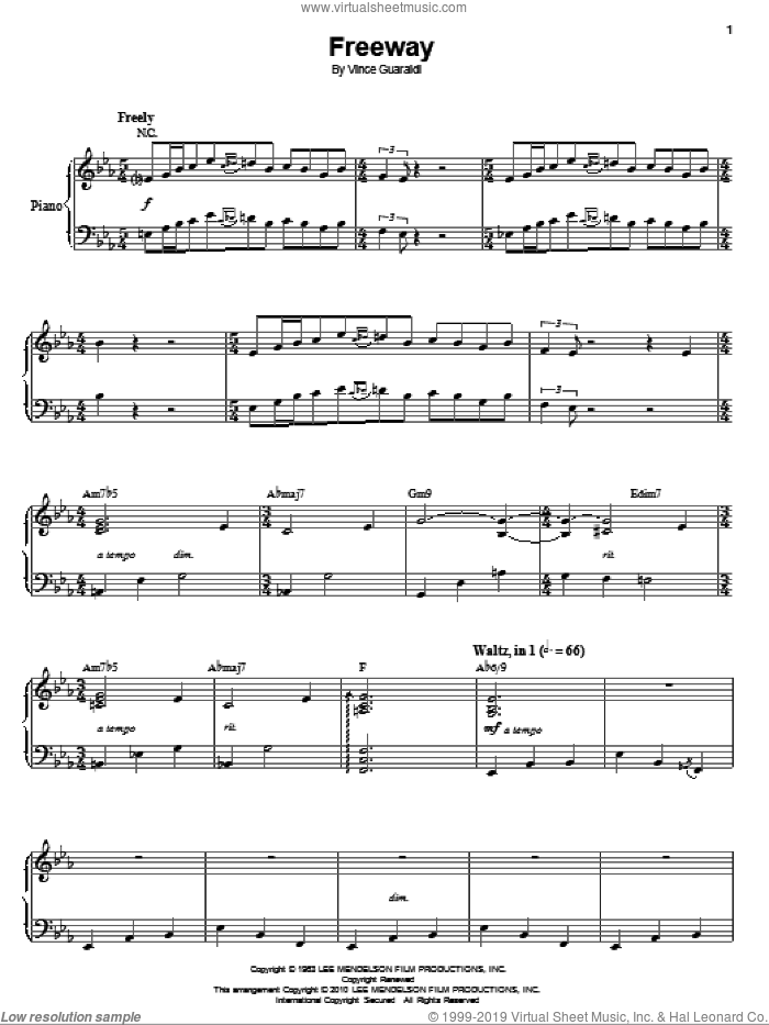 Freeway sheet music for voice and piano by Vince Guaraldi, intermediate skill level