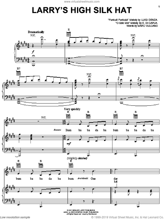 Larry's High Silk Hat sheet music for voice, piano or guitar by VeggieTales, E. di Capua, Luigi Denza and Marc Vulcano, intermediate skill level