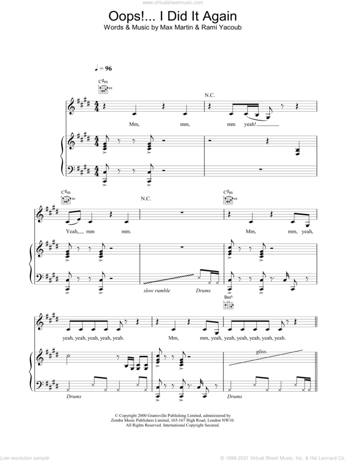 Oops! I Did It Again sheet music for voice, piano or guitar by Max Martin, Britney Spears and Rami, intermediate skill level