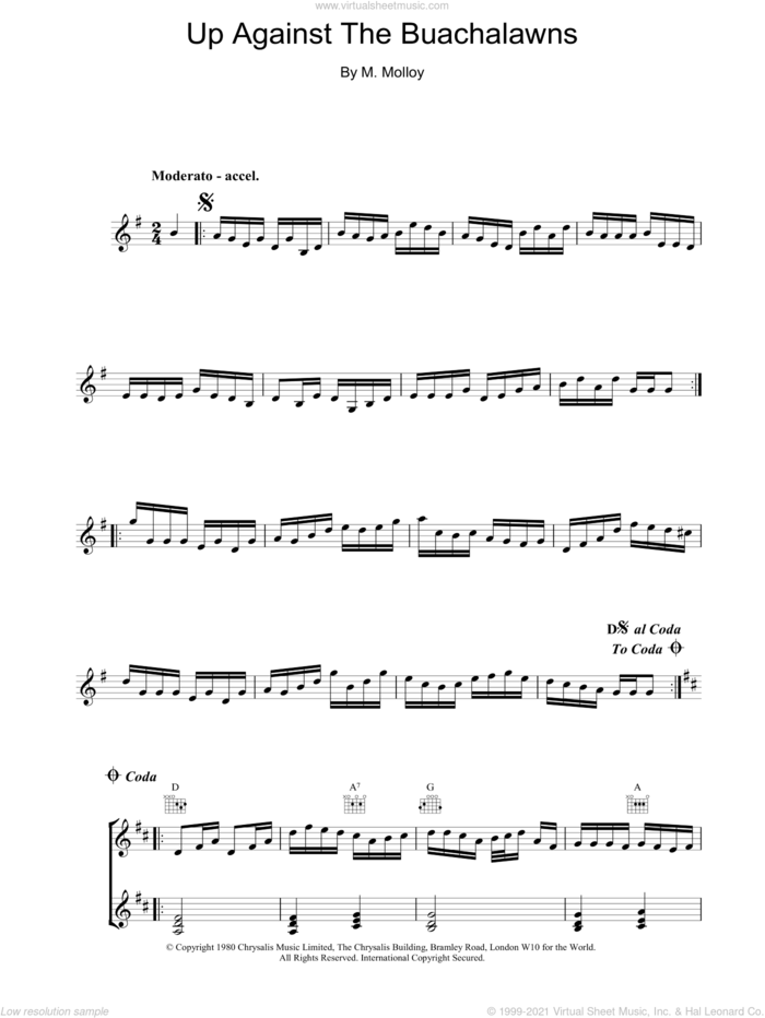 Up Against The Buachalawns sheet music for piano solo by The Chieftains and M Molloy, intermediate skill level