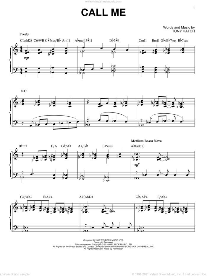 Call Me [Jazz version] (arr. Brent Edstrom) sheet music for piano solo by Tony Hatch, intermediate skill level