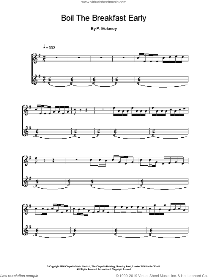 Boil The Breakfast Early sheet music for piano solo by The Chieftains and P Moloney, intermediate skill level