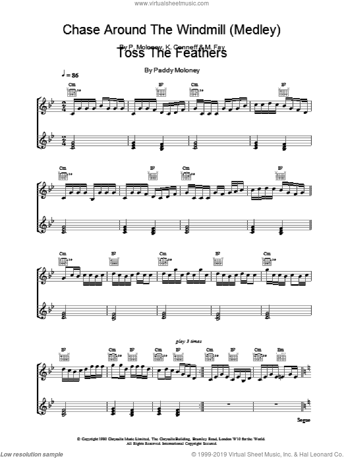 Chase Around The Windmill (Medley) sheet music for piano solo by The Chieftains, K Conneff, M Fay and P Moloney, intermediate skill level
