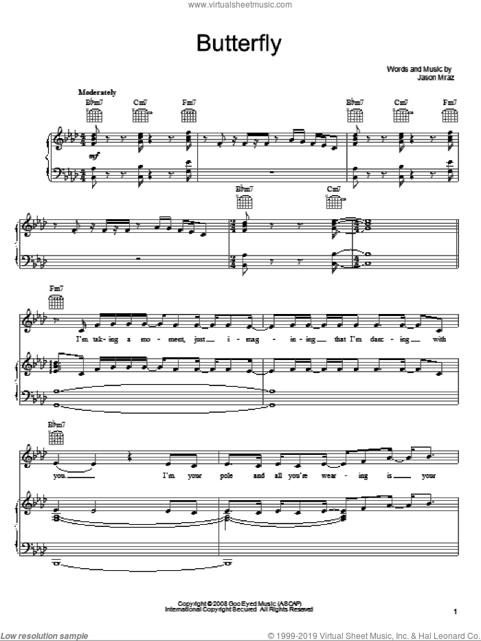 Butterfly sheet music for voice, piano or guitar by Jason Mraz, intermediate skill level