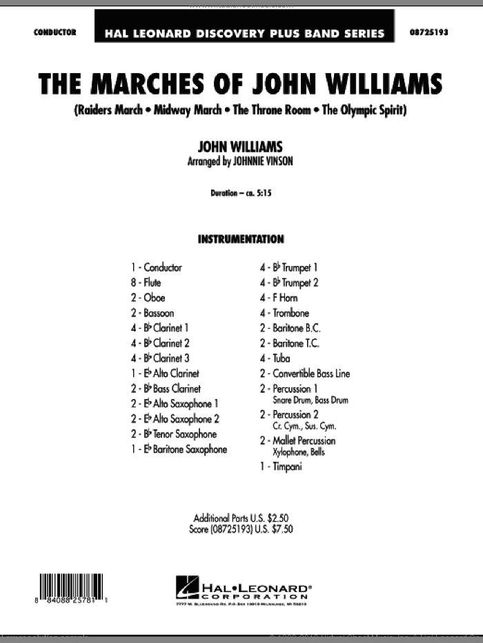 The Marches of John Williams (COMPLETE) sheet music for concert band by John Williams and Johnnie Vinson, intermediate skill level