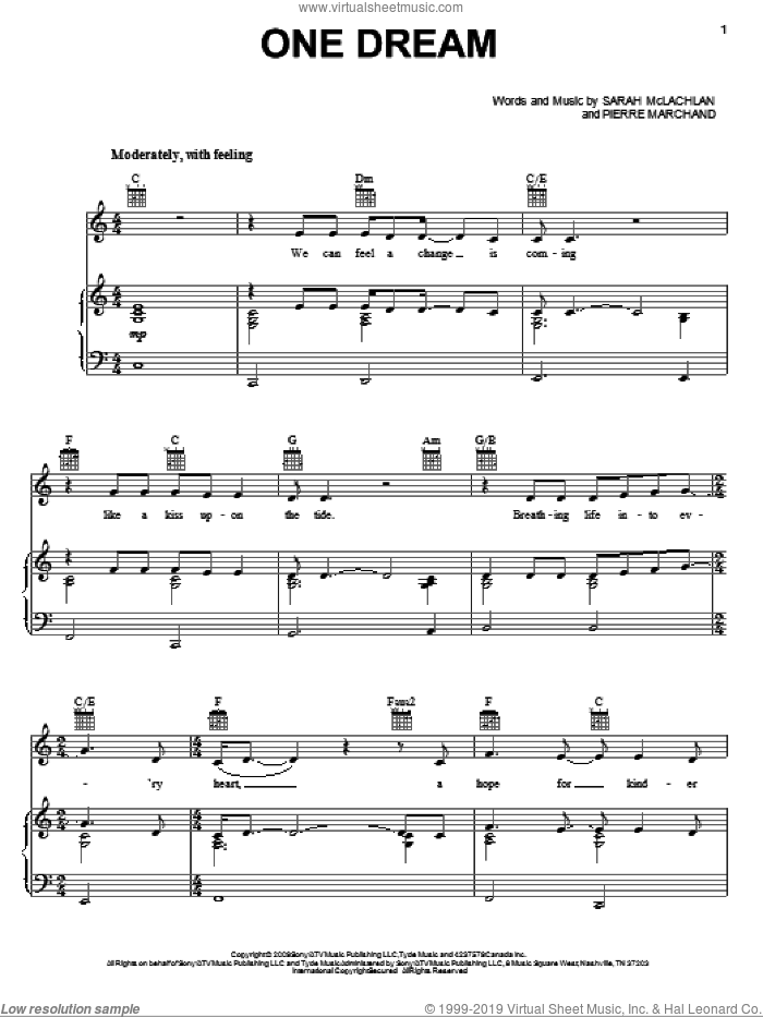 One Dream sheet music for voice, piano or guitar by Sarah McLachlan and Pierre Marchand, intermediate skill level