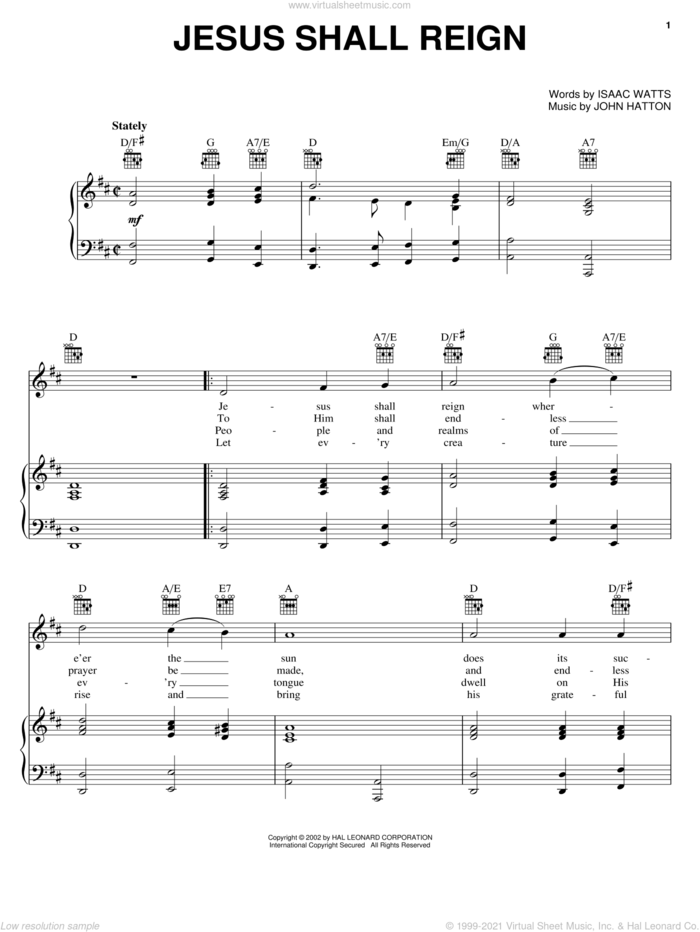 Jesus Shall Reign (Where'er The Sun) sheet music for voice, piano or guitar by Isaac Watts and John Hatton, intermediate skill level