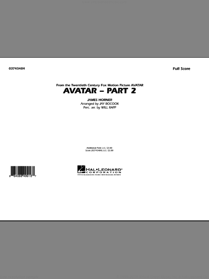 Avatar: Part 2 (COMPLETE) sheet music for marching band by James Horner, Jay Bocook and Will Rapp, intermediate skill level