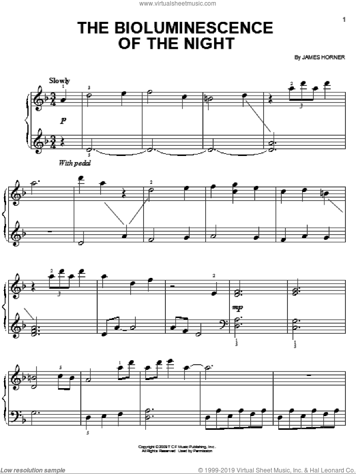 The Bioluminescence Of The Night sheet music for piano solo by James Horner and Avatar (Movie), easy skill level