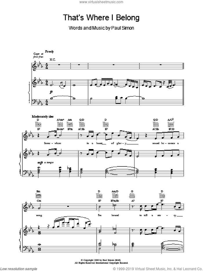 That's Where I Belong sheet music for voice, piano or guitar by Paul Simon, intermediate skill level