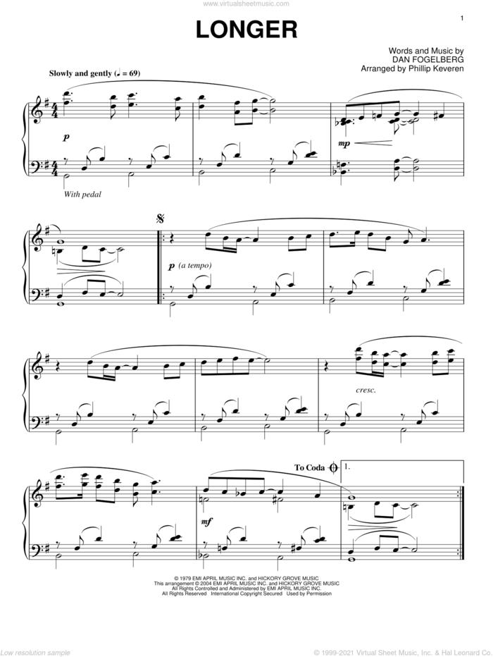 Longer sheet music for piano solo by Dan Fogelberg and Phillip Keveren, wedding score, intermediate skill level