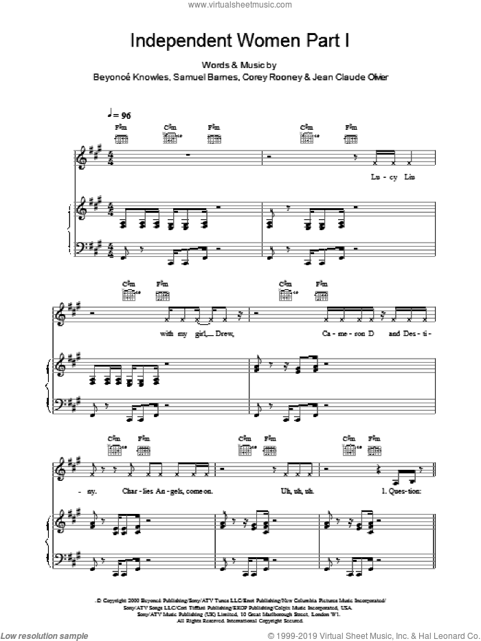 Independent Women Part I sheet music for voice, piano or guitar by Destiny's Child, Beyonce, Corey Rooney, Knowles,BeyoncA�A� and Samuel Barnes, intermediate skill level