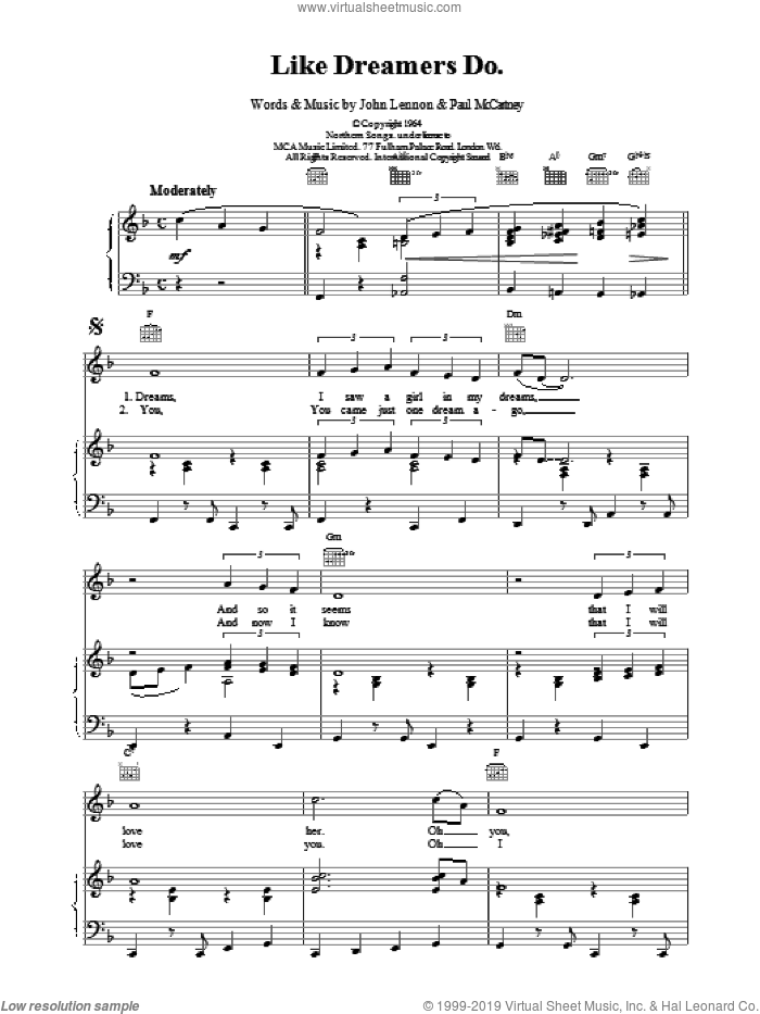 Like Dreamers Do sheet music for voice, piano or guitar by Paul McCartney, The Beatles and LENNON, intermediate skill level