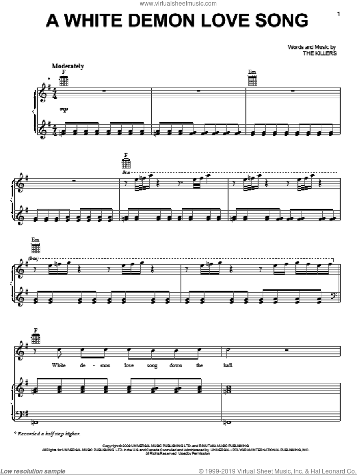 A White Demon Love Song sheet music for voice, piano or guitar by The Killers and Twilight: New Moon (Movie), intermediate skill level