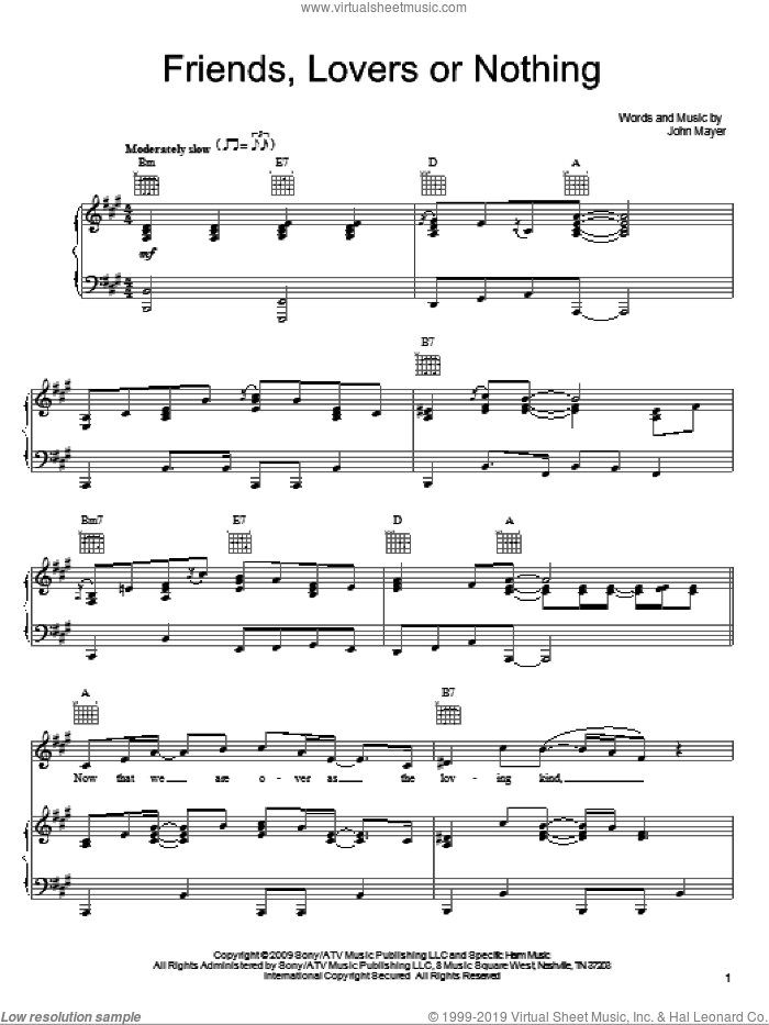 Friends, Lovers Or Nothing sheet music for voice, piano or guitar by John Mayer, intermediate skill level