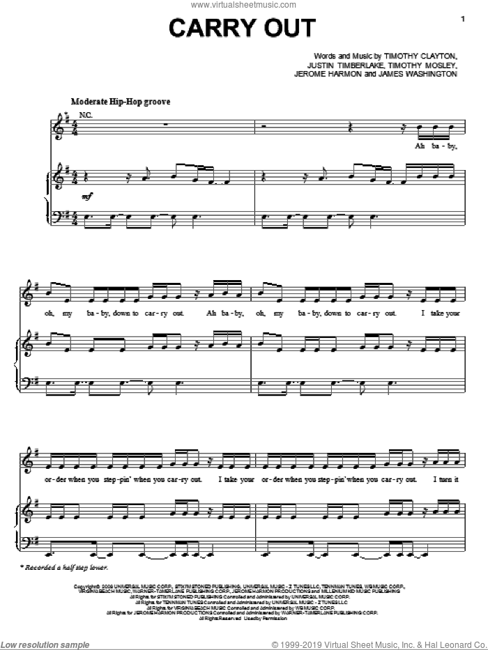 Carry Out sheet music for voice, piano or guitar by Timbaland featuring Justin Timberlake, Timbaland, James Washington, Jerome Harmon, Justin Timberlake, Tim Mosley and Timothy Clayton, intermediate skill level