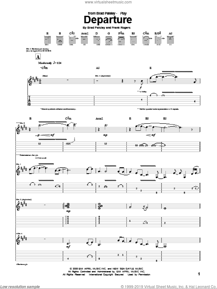 Departure sheet music for guitar (tablature) by Brad Paisley and Frank Rogers, intermediate skill level