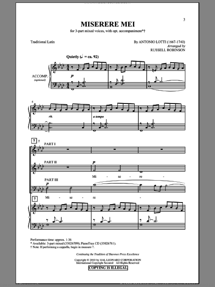 Miserere Mei sheet music for choir (3-Part Mixed) by Antonio Lotti and Russell Robinson, intermediate skill level